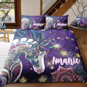 Personalized Mandala Purple Unicorn Bedding Set