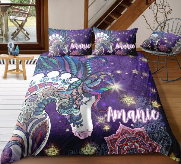 Personalized Mandala Purple Unicorn Bedding Set