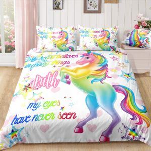 Personalized Pink Heart Unicorn Bedding Set
