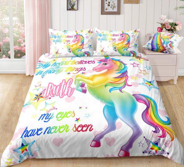 Personalized Pink Heart Unicorn Bedding Set