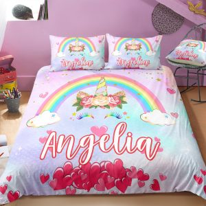 Personalized Rainbow Unicorn Lash Bedding Set