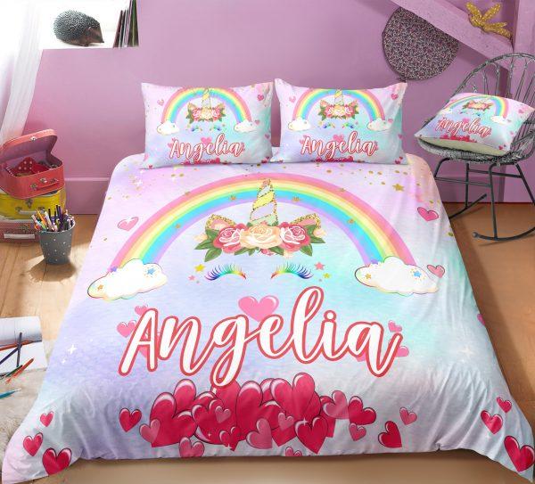 Personalized Rainbow Unicorn Lash Bedding Set
