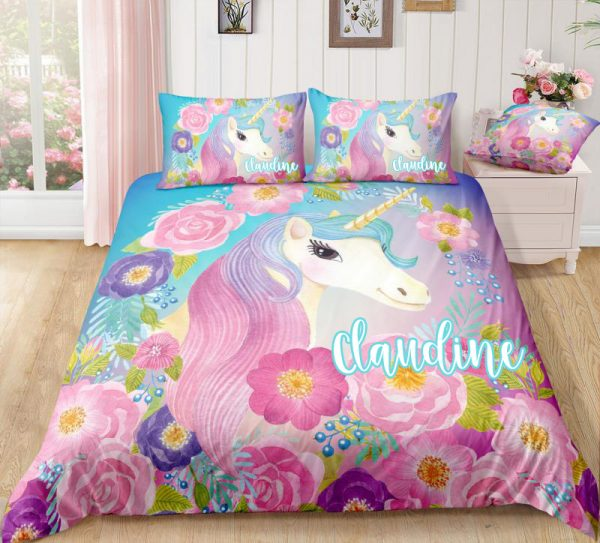 Personalized Rose Unicorn Bedding Set