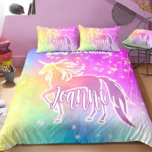 Personalized Tie-dyed Unicorn Bedding Set