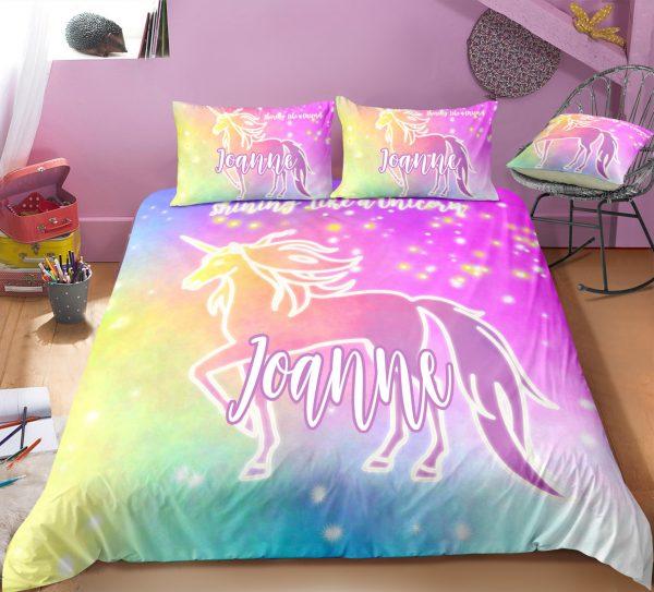 Personalized Tie-dyed Unicorn Bedding Set