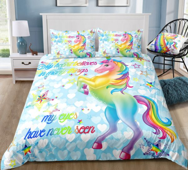 Rainbow Unicorn Blue Stars Bedding Set