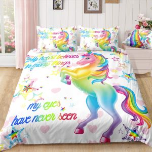 Rainbow Unicorn White Stars Bedding Set