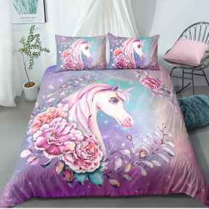 Roses in Galaxy Unicorn Bedding Set