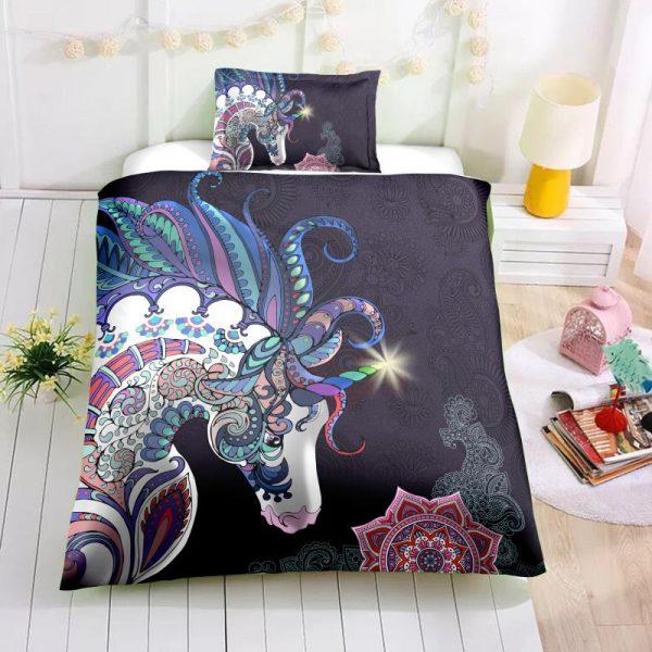 Unicorn In Dark Night Bedding Set