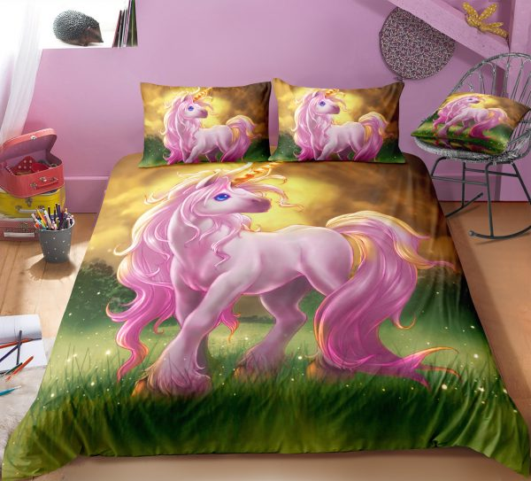 Unicorn Playing In The Green Field Bedding Set