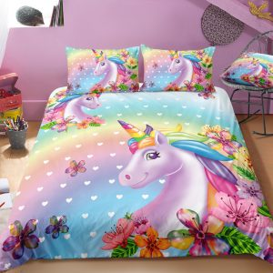Unicorn and Rainbow Bedding Set