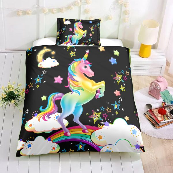 Unicorn with Clouds and Stars Bedding Set