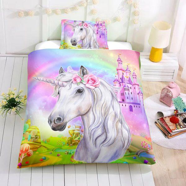 Personalized Custom Castle Unicorn Bedding Set