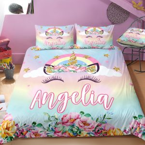 Personalized Rainbow Bling Bling Unicorn Lash Bedding Set