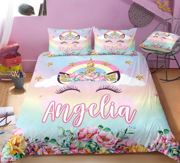 Personalized Rainbow Bling Bling Unicorn Lash Bedding Set