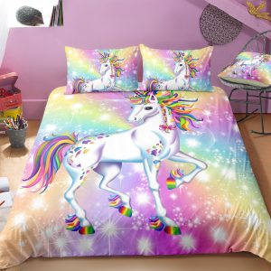 Glittering Rainbow Unicorn Bedding Set