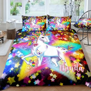 Personalized Sparkling Star Unicorn Bedding Set