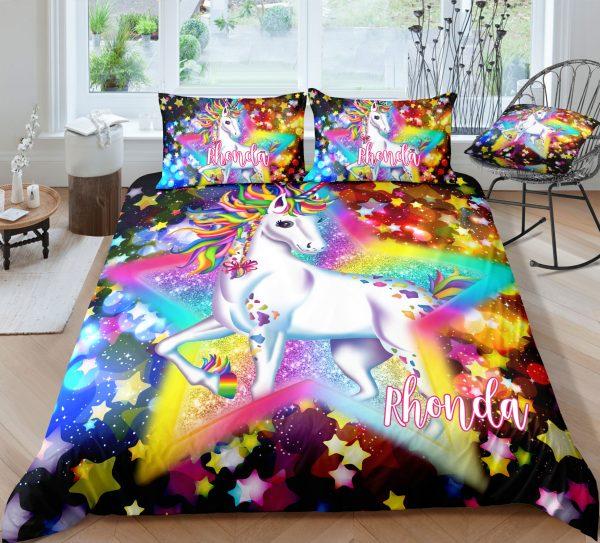 Personalized Sparkling Star Unicorn Bedding Set