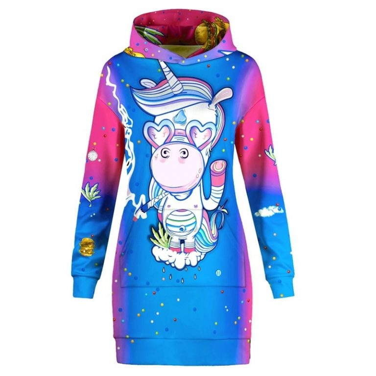 Unicorn Print Pocket Hoodie Dress