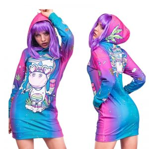 Unicorn Print Pocket Hoodie Dress