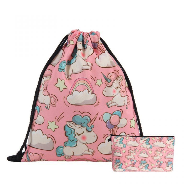 3D Printing Pink Unicorn Drawstring Bag and Cosmestic Bag