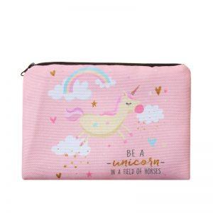 3D Printed Pink Unicorn Cosmetic Bag