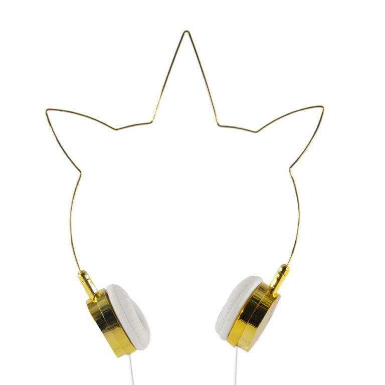 Lovely Gold Unicorn Headphones Wired 3.5mm Earphones