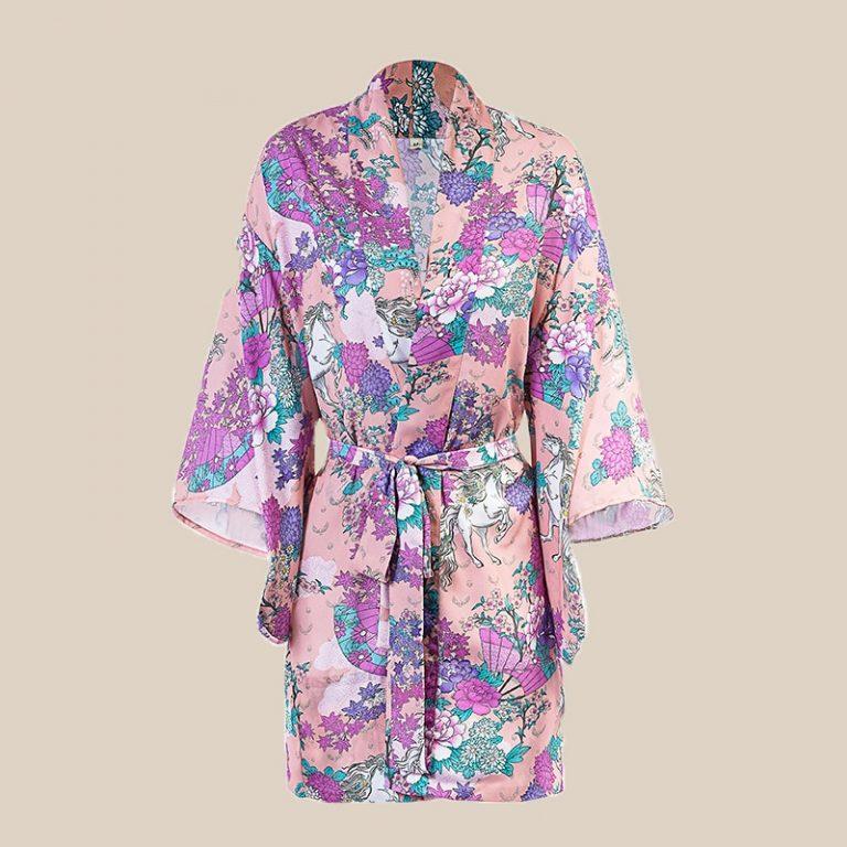 Unicorn Pattern Kimono Style Loose Coat Outwear