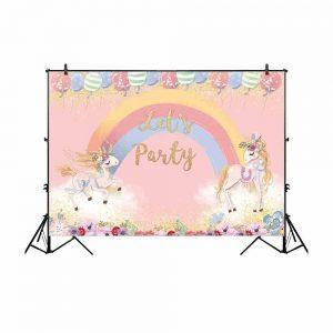 Unicorn Rainbow Flowers Party Backdrop