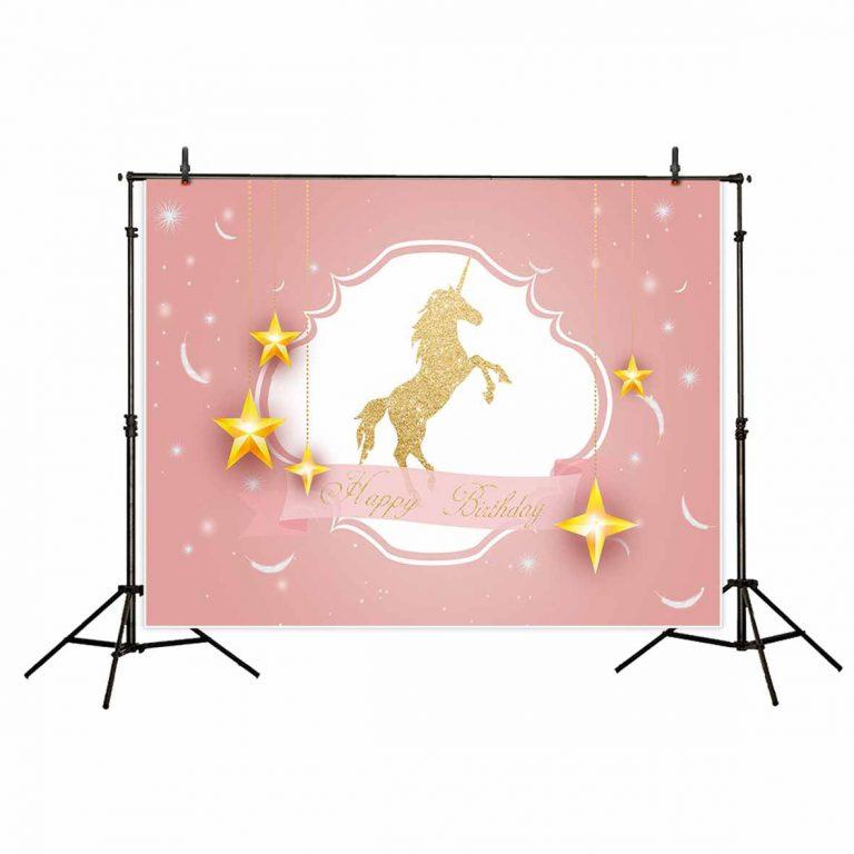 Unicorn Stars Feather Photographic Backdrop