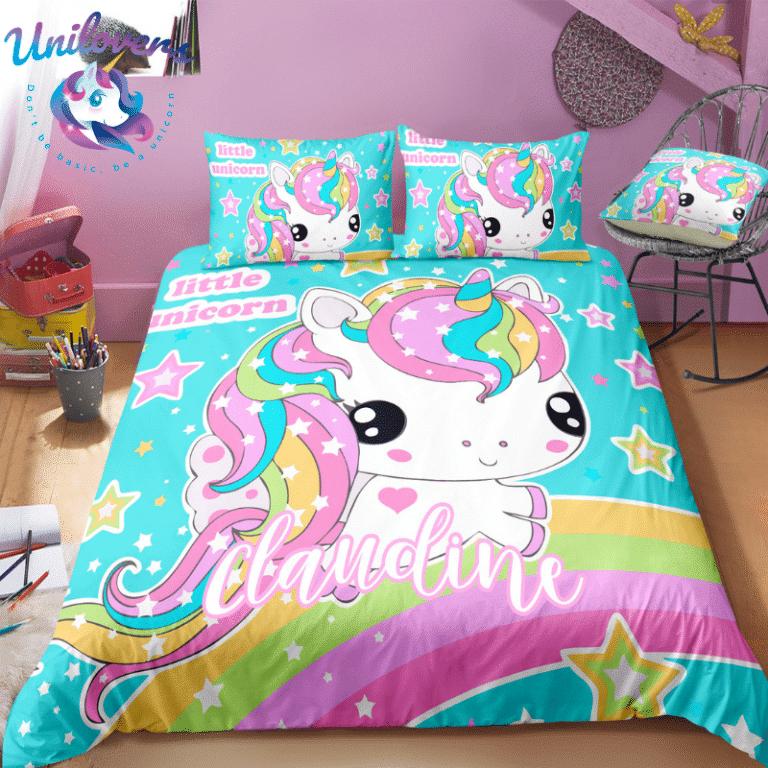 Personalized Adorable Unicorn Bedding Set