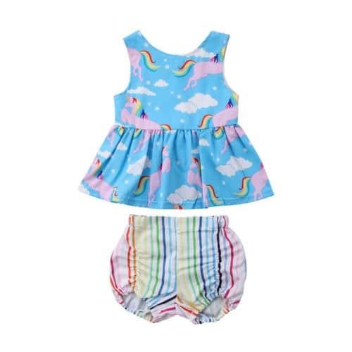 Rainbow Unicorn Tops Dress Striped Shorts Pants