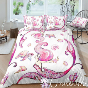 Pink Mermaid Scale Bedding Set