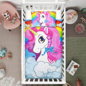 Colorful Beloved Unicorn Crib Bedding Set