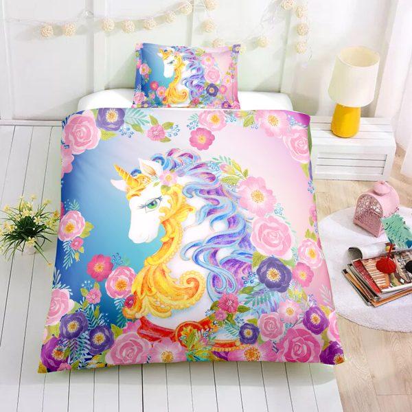 Flowers Beloved Unicorn Bedding Set
