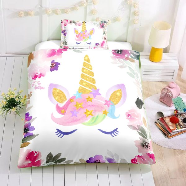 Flowers Unicorn Lash Bedding Set