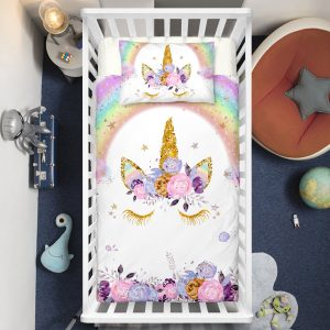 Flowers Unicorn Lash Crib Bedding Set