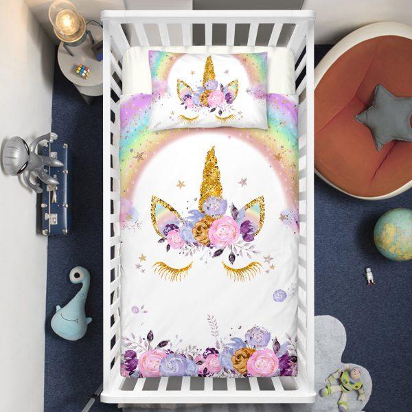 Flowers Unicorn Lash Crib Bedding Set