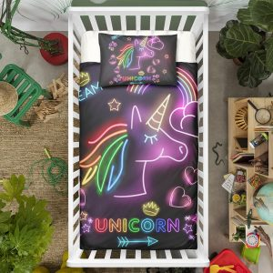 Glowing Unicorn Crib Bedding Set