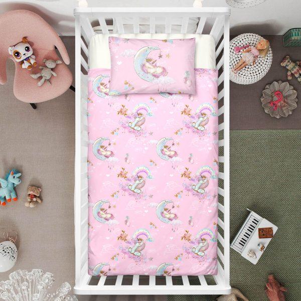 Pink Crescent Unicorn Crib Bedding Set