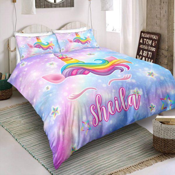 Personalized Custom Galaxy Unicorn Lash Bedding Set