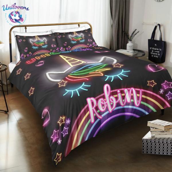Personalized Glowing Unicorn Lash Bedding Set