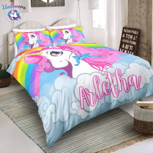 Personalized Rainbow Unicorn Queen Bedding Set