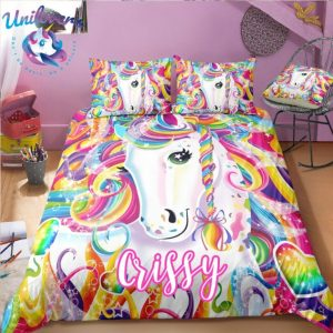 Personalized Colorful Unicorn Bedding Set