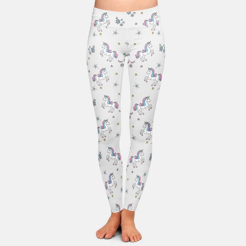 3D Printed Unicorn Women White Leggings