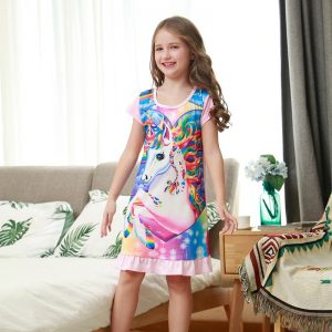 New Unicorn Summer Soft Sleepwear Dress