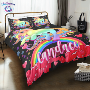 Personalized Red Heart Unicorn Bedding Set