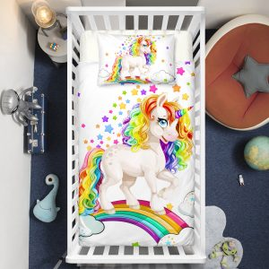Baby Rainbow Unicorn Crib Bedding Set
