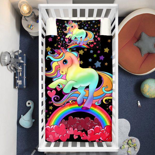 Black Hearts Rainbow Unicorn Crib Bedding Set