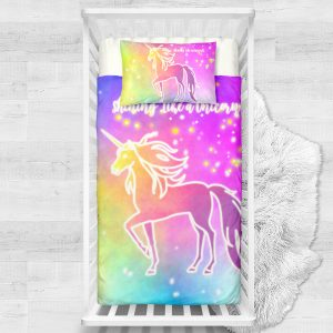 Bling Bling Unicorn Stars Crib Bedding Set